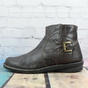 CLARKS Side Zip Leather Buckle Ankle Boots 8.5 W